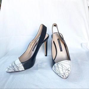 French Connection Black White Stiletto Pumps Heels